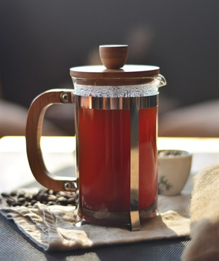 Bambu Kapaklı Metal Standlı French Press 600ml