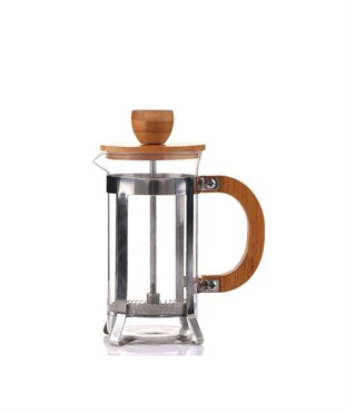 Bambu Kapaklı Metal Standlı French Press 350ml